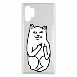Чехол для Samsung Note 10 Plus Кот с факом
