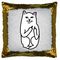 Подушка-хамелеон Кот с факом
