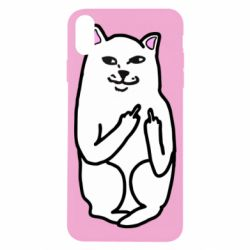 Чехол для iPhone X/Xs Кот с факом