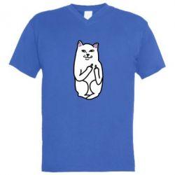 Мужская футболка  с V-образным вырезом Кот с факом - FatLine