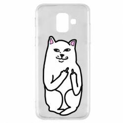Чехол для Samsung A6 2018 Кот с факом