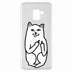 Чехол для Samsung A8+ 2018 Кот с факом