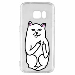 Чехол для Samsung S7 Кот с факом