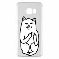 Чехол для Samsung S7 EDGE Кот с факом