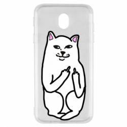 Чехол для Samsung J7 2017 Кот с факом