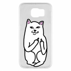 Чехол для Samsung S6 Кот с факом