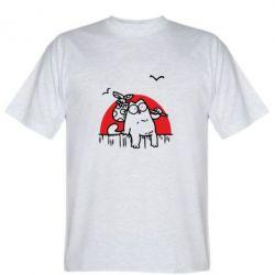 Мужская футболка Кот Саймона на фоне заката - FatLine