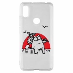 Чехол для Xiaomi Redmi S2 Кот Саймона на фоне заката