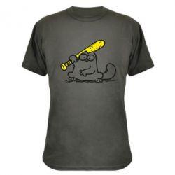 Камуфляжная футболка Кот Саймона с битой - FatLine