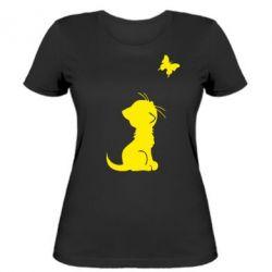 Женская футболка котик и бабочка - FatLine