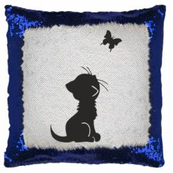 Подушка-хамелеон котик и бабочка
