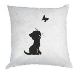 Подушка котик и бабочка - FatLine