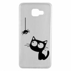Чехол для Samsung A7 2016 Котик и паук