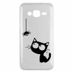 Чехол для Samsung J3 2016 Котик и паук