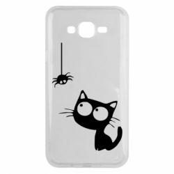 Чехол для Samsung J7 2015 Котик и паук