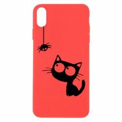 Чехол для iPhone Xs Max Котик и паук
