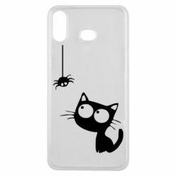 Чехол для Samsung A6s Котик и паук