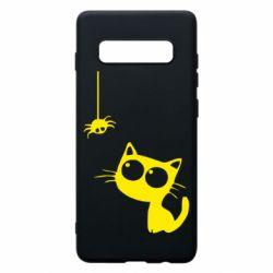 Чехол для Samsung S10+ Котик и паук