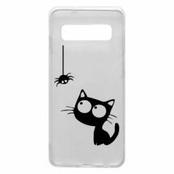 Чехол для Samsung S10 Котик и паук