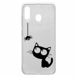 Чехол для Samsung A20 Котик и паук