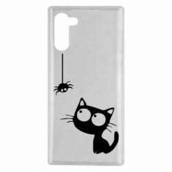 Чехол для Samsung Note 10 Котик и паук