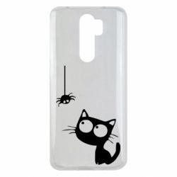 Чехол для Xiaomi Redmi Note 8 Pro Котик и паук