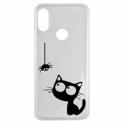 Чехол для Xiaomi Redmi Note 7 Котик и паук