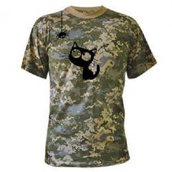 Камуфляжная футболка Котик и паук - FatLine