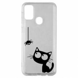 Чехол для Samsung M30s Котик и паук