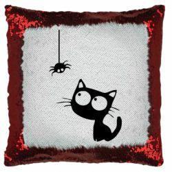 Подушка-хамелеон Котик и паук
