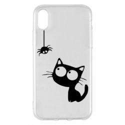 Чехол для iPhone X/Xs Котик и паук
