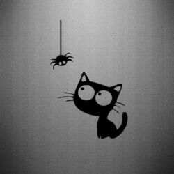 Наклейка Котик и паук