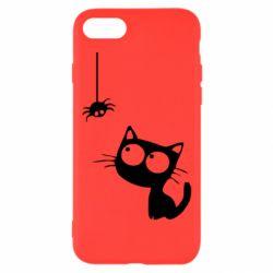 Чехол для iPhone 7 Котик и паук
