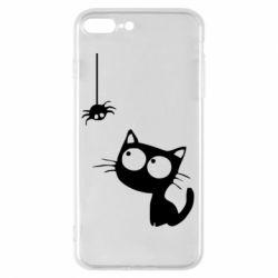 Чехол для iPhone 7 Plus Котик и паук