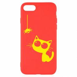Чехол для iPhone 8 Котик и паук