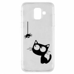 Чехол для Samsung A6 2018 Котик и паук