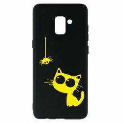 Чехол для Samsung A8+ 2018 Котик и паук