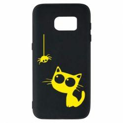 Чехол для Samsung S7 Котик и паук