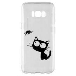 Чехол для Samsung S8+ Котик и паук