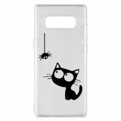 Чехол для Samsung Note 8 Котик и паук