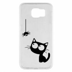 Чехол для Samsung S6 Котик и паук