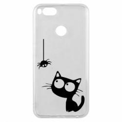 Чехол для Xiaomi Mi A1 Котик и паук