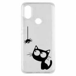 Чехол для Xiaomi Mi A2 Котик и паук