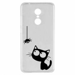 Чехол для Xiaomi Redmi 5 Котик и паук