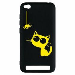 Чехол для Xiaomi Redmi 5a Котик и паук