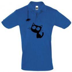 Мужская футболка поло Котик и паук