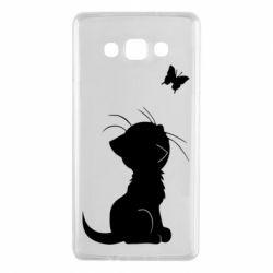 Чохол для Samsung A7 2015 Котик з метеликом
