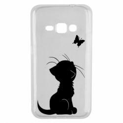 Чохол для Samsung J1 2016 Котик з метеликом