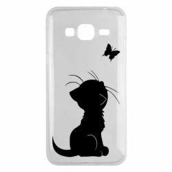 Чохол для Samsung J3 2016 Котик з метеликом