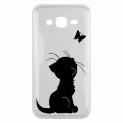 Чохол для Samsung J5 2015 Котик з метеликом